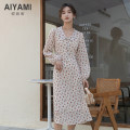 Dress Spring 2021 Picture color S M L XL Mid length dress Long sleeves commute V-neck High waist Three buttons routine Others 25-29 years old Type A Aiya honey lady More than 95% Chiffon polyester fiber Other polyester 95% 5%