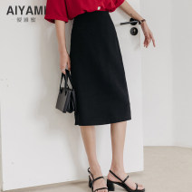 skirt Summer 2020 2XL S M L XL Mid length dress Versatile High waist A-line skirt Solid color Type A 91% (inclusive) - 95% (inclusive) Aiya honey polyester fiber Other polyester 95% 5%
