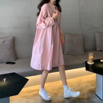 Dress Summer 2020 178 pink sweater vest, 179 pink dress Average size Mid length dress Long sleeves commute Crew neck Solid color Socket routine Others 18-24 years old Type H Other / other Korean version 51% (inclusive) - 70% (inclusive) other