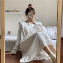 Nightdress Other / other White nightdress, blue nightdress, pink nightdress, fog blue nightdress, light green nightdress, yellow nightdress, gray nightdress, white crocodile suit Sweet Long sleeves pajamas longuette spring Solid color youth Crew neck Polyester (polyester) bow More than 95%