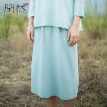 skirt Summer 2015 S M L green Mid length dress commute Natural waist other Solid color XR-SSL393 More than 95% other Leisurely cotton tie-dyed literature Cotton 100%