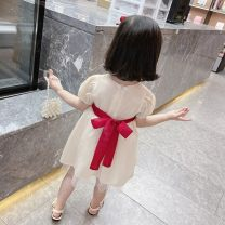 Dress Apricot female Other / other 80cm,90cm,100cm,110cm,120cm,130cm Other 100% summer Korean version Short sleeve Solid color Silk and satin A-line skirt MDYA210012#02 Class A 18 months Chinese Mainland