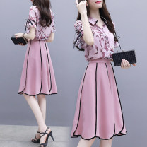 Dress Summer of 2019 Pink S,M,L,XL,2XL Middle-skirt Two piece set Short sleeve Sweet Polo collar High waist Decor Socket Ruffle Skirt Lotus leaf sleeve Others Type X Other / other Stitching, printing A001 71% (inclusive) - 80% (inclusive) Chiffon other