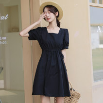 Dress Summer 2021 White, black Average size Short skirt singleton  Long sleeves commute other High waist Solid color zipper A-line skirt puff sleeve Others 18-24 years old Type H Korean version fold 51% (inclusive) - 70% (inclusive) other other