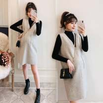 Dress Other / other Picture color M,L,XL,XXL Korean version Long sleeves Medium length autumn stand collar Solid color Wool