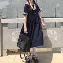 Dress Summer 2021 Navy short sleeves, blue short sleeves Average size longuette Short sleeve commute Admiral Socket A-line skirt other 18-24 years old Type A Korean version 81% (inclusive) - 90% (inclusive) polyester fiber
