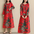 Dress Autumn of 2019 Red, Navy M,L,XL,2XL Mid length dress singleton  Long sleeves commute Crew neck Loose waist Decor Socket other other Others ethnic style 71% (inclusive) - 80% (inclusive) cotton