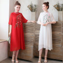Dress Summer of 2019 White, yellow, black, Chinese red M,L,XL,2XL Mid length dress singleton  elbow sleeve commute Half high collar Loose waist stripe Socket other routine Others ethnic style 71% (inclusive) - 80% (inclusive) cotton