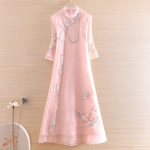 Dress Spring 2021 Pink, light blue S,M,L,XL,2XL longuette singleton  three quarter sleeve commute stand collar Loose waist Decor Socket A-line skirt routine Others Type A Ziazib ethnic style Embroidery Y5572 More than 95% organza  polyester fiber