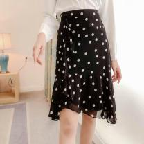 skirt Autumn 2020 XL,L,M,S black Mid length dress commute High waist A-line skirt Dot Type A 81% (inclusive) - 90% (inclusive) Lotus leaf edge Korean version