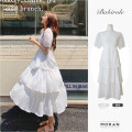 Dress Summer 2021 White, black S,M,L,XL Mid length dress singleton  Short sleeve commute Crew neck High waist Solid color zipper Cake skirt puff sleeve 18-24 years old Retro Chiffon