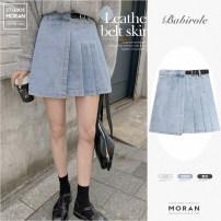 skirt Summer 2021 S,M,L,XL White, black, denim blue Short skirt Versatile High waist Pleated skirt Solid color Type A 18-24 years old Denim cotton Pleating, three-dimensional decoration, bandage, zipper, stitching