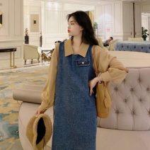 Dress Spring 2020 Denim skirt Average size Mid length dress singleton  Sleeveless Crew neck Loose waist 18-24 years old Type H 2509#