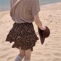 skirt Summer 2021 Average size Leopard skirt Short skirt commute High waist Cake skirt Leopard Print 18-24 years old Retro