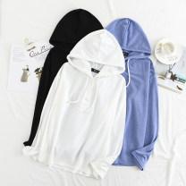 Women's large Spring 2020 Blue, black, white, white short sleeves, blue short sleeves, black short sleeves Large 2xl120 to 140kg, large 3xl140 to 160kg, large 4xl160 to 180kg, large 5xl180 to 200kg T-shirt singleton  commute easy thin Socket Long sleeves Solid color Korean version Hood routine
