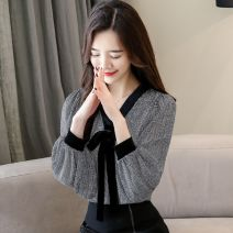Lace / Chiffon Spring of 2019 Black, red, black [skirt] S,M,L,XL,2XL,3XL,4XL,5XL Long sleeves commute Socket singleton  easy Regular V-neck lattice shirt sleeve 25-29 years old Bow tie, lace up, open line decoration Korean version 96% and above polyester fiber