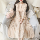 Dress Spring 2020 White, apricot Average size Mid length dress singleton  Long sleeves Sweet Crew neck Elastic waist Solid color Socket Big swing Others 18-24 years old Type A fungus Chiffon college