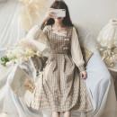 Dress Autumn 2020 coffee S,M,L Middle-skirt singleton  Long sleeves commute square neck lattice shirt sleeve Type A Retro