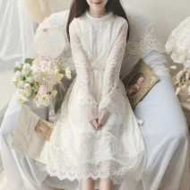 Dress Autumn 2020 White, off white Average size Mid length dress singleton  Long sleeves Sweet Crew neck Solid color Socket pagoda sleeve Others Type A Lace Lace princess
