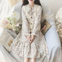 Dress Autumn 2020 White, blue Average size Mid length dress Two piece set Long sleeves Sweet Broken flowers Others Type A Chiffon college