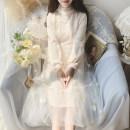 Dress Autumn 2020 Off white, pink M, L Mid length dress singleton  Long sleeves Sweet Crew neck Type A