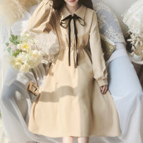 Dress Autumn 2020 khaki S,M,L Short skirt singleton  Long sleeves Solid color Others Type A