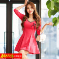 Dress Winter 2020 gules S,M,L,XL,2XL Short skirt singleton  Long sleeves commute V-neck High waist Solid color zipper A-line skirt routine Others 18-24 years old Type A Korean version Backless, stitching, lace 51% (inclusive) - 70% (inclusive) knitting polyester fiber