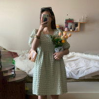 Dress Summer 2021 green Average size Short skirt singleton  Short sleeve commute square neck High waist Solid color Socket Princess Dress puff sleeve Others 18-24 years old Type A Other / other Korean version 169/+696 51% (inclusive) - 70% (inclusive) other other