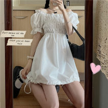 Dress Summer 2021 White, black Average size Short skirt singleton  Short sleeve commute square neck High waist Solid color other A-line skirt puff sleeve Others 18-24 years old Type A Other / other Korean version Fold, strap 51% (inclusive) - 70% (inclusive) other other