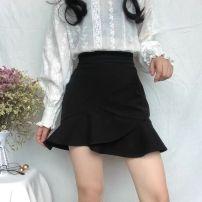 skirt Spring 2021 XS [recommended 70-84 kg], s [recommended 85-95 kg], m [recommended 96-107 kg], l [recommended 108-118 kg], XL [recommended 119-130 kg], 2XL [recommended 131-140 kg, 3XL [recommended 141-152 kg] black Short skirt High waist Ruffle Skirt Ruffle, zipper, solid