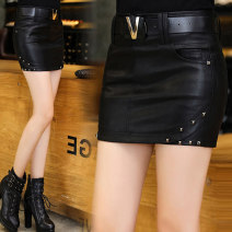 skirt Summer of 2019 S,M,L,XL black Short skirt sexy Natural waist skirt Solid color Type O 25-29 years old More than 95% other Other / other PU rivet