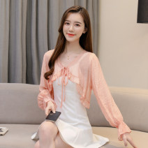 Lace / Chiffon Summer 2021 Blue, yellow, pink S,M,L,XL,2XL Long sleeves Versatile Cardigan singleton  easy Super short V-neck Solid color pagoda sleeve 25-29 years old Frenulum 96% and above polyester fiber