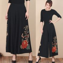 Casual pants XL,2XL,3XL,4XL Summer 2021 Ninth pants Wide leg pants High waist commute routine 51% (inclusive) - 70% (inclusive) hemp ethnic style Embroidery