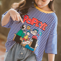 T-shirt Other / other 120cm,130cm,140cm,150cm,160cm,170cm female summer Short sleeve Crew neck Korean version There are models in the real shooting nothing cotton stripe Cotton 96% polyurethane elastic fiber (spandex) 4% Class B Sweat absorption Chinese Mainland