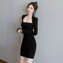 Dress Spring 2020 Black, brown S,M,L Short skirt singleton  Long sleeves commute One word collar middle-waisted Solid color Socket One pace skirt routine Others Type A Other / other Korean version