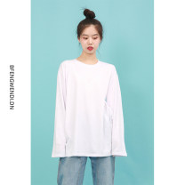 T-shirt White, black Average size Spring 2021 Long sleeves Crew neck easy Regular routine street cotton 96% and above 18-24 years old Bree Wendy Hip hop
