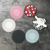 Coaster circular Pink bow finger white green black other Self made pictures Japanese  Cartoon no