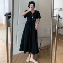 Women's large Summer 2021 Yellow, black Large L, large XL, large XXL, large XXL, large XXXXL, large XXXXL, M Dress singleton  commute easy moderate Socket Short sleeve other Korean version V-neck Medium length Three dimensional cutting routine 18-24 years old Button 31% (inclusive) - 50% (inclusive)