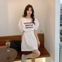 Women's large Summer 2021 Off white, black Large L, large XL, large XXL, large XXL, large XXXXL, large XXXXL, M T-shirt singleton  commute Self cultivation moderate Socket Short sleeve Solid color, letter Korean version Crew neck routine polyester fiber Three dimensional cutting routine Bandage