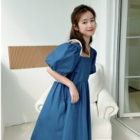 Women's large Summer 2021 blue Large XL, large XXL, large XXL, large XXXXL, large L, M Dress singleton  commute easy moderate Socket Short sleeve Solid color Korean version Crew neck polyester fiber puff sleeve 18-24 years old 31% (inclusive) - 50% (inclusive) Middle-skirt Lantern skirt