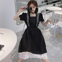 Dress Summer 2021 black M (recommended 80-100 kg), l (recommended 100-115 kg), XL (recommended 115-130 kg), 2XL (recommended 130-145 kg), 3XL (recommended 145-160 kg), 4XL (recommended 160-180 kg) Middle-skirt singleton  Short sleeve commute square neck Solid color Socket other other Others