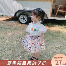 T-shirt summer lady There are models in the real shot nothing Cotton 90% other 10% B20040701(XY) other other female Yangmeijia 2, 3, 4, 5, 6, 7, 8, 9, 10 years old cotton printing Short sleeve Crew neck Zhejiang Province Hangzhou Chinese Mainland easy White, orange