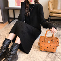 Wool knitwear Winter of 2019 Average size Black, yellow, off white Long sleeves singleton  Socket other More than 95% Medium length routine commute easy other routine Solid color Socket Korean version Round neck long woolen dress 001 25-29 years old