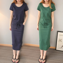 Dress Summer of 2019 S,M,L,XL longuette singleton  Short sleeve commute Crew neck middle-waisted Solid color Socket other routine Others Type H Korean version Pocket, lace up 81% (inclusive) - 90% (inclusive) other cotton