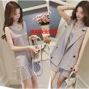 Nursing clothes Khaki, grey blue S,M,L,XL,2XL,3XL,4XL Other / other Socket summer Sleeveless Medium length Versatile Dress Solid color Lift up nylon 390#