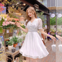 Dress Summer 2021 Short white skirt, long white skirt S,M,L Mid length dress singleton  Long sleeves commute V-neck High waist Solid color zipper other puff sleeve Others 25-29 years old Type A Other / other DY032701 31% (inclusive) - 50% (inclusive) other