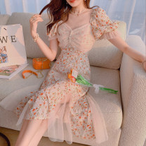 Dress Summer 2021 orange XS,S,M,L,XL Mid length dress singleton  Short sleeve commute V-neck High waist Decor zipper A-line skirt puff sleeve Others 25-29 years old Type A Other / other U210401 31% (inclusive) - 50% (inclusive) other