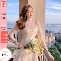 Dress Summer 2021 Apricot S,M,L Middle-skirt singleton  Short sleeve commute V-neck High waist Solid color zipper A-line skirt puff sleeve Others 25-29 years old Type A Other / other lady Inlaid diamond, agaric, button, gauze net U207037 51% (inclusive) - 70% (inclusive) other polyester fiber