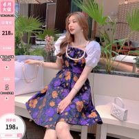 Dress Summer 2021 Decor S,M,L Mid length dress singleton  Short sleeve commute square neck High waist Broken flowers zipper A-line skirt puff sleeve Others 25-29 years old Type A Other / other lady U210345 31% (inclusive) - 50% (inclusive) other