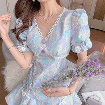 Dress Summer 2021 Picture color XS,S,M,L,XL Mid length dress singleton  Short sleeve commute V-neck High waist Decor zipper other puff sleeve Others 25-29 years old Type A Other / other U210405 31% (inclusive) - 50% (inclusive) other